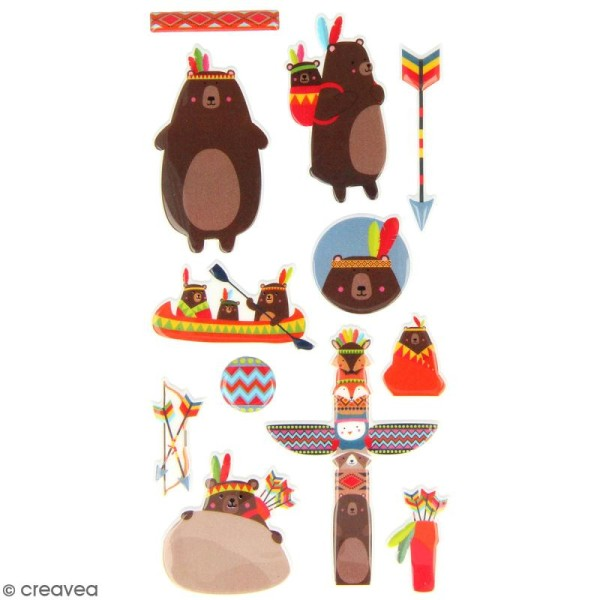 Stickers Puffies Artemio Totem - Ours - 12 pcs - Photo n°1