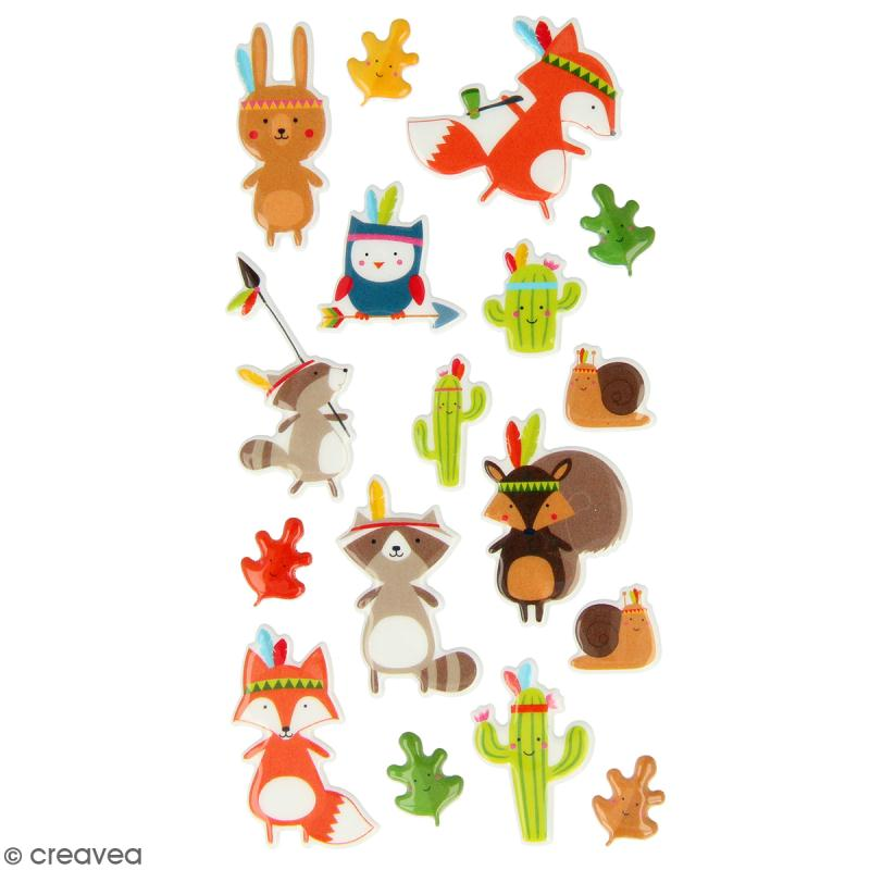 Stickers Puffies Artemio Totem - Animaux indiens - 17 pcs - Photo n°1