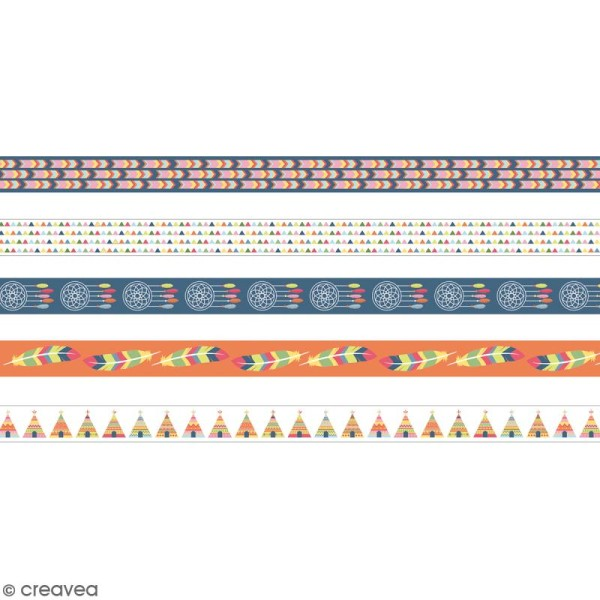 Masking tape Artemio - Totem Indiens - 15 mm x 5 m - 5 pcs - Photo n°2