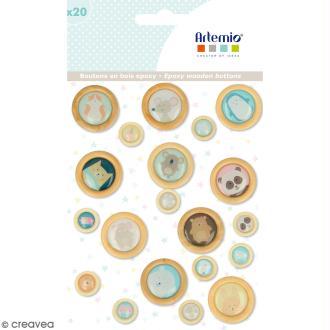 Boutons bois et epoxy - Adorable - 20 pcs