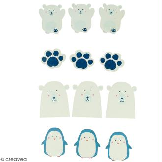 Stickers en bois Adorable Ours polaire - 12 autocollants