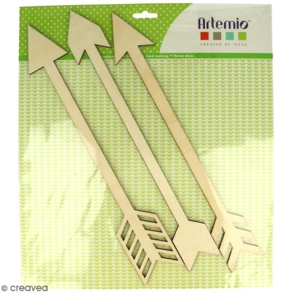 Flèches en bois 35 cm à décorer - 3 pcs - Photo n°1