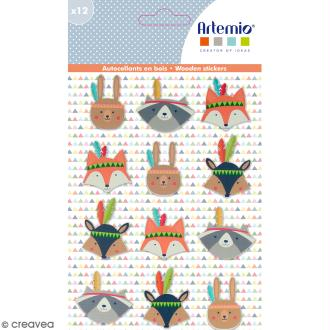 Stickers en bois Totem Personnages - 12 autocollants