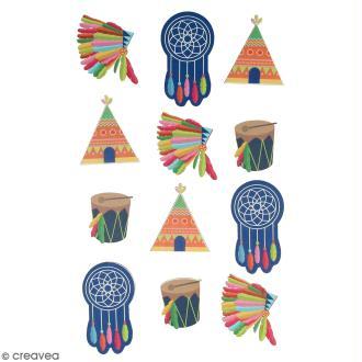 Stickers en bois Totem Indiens - 12 autocollants
