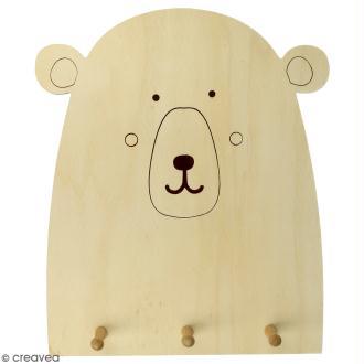 Patère en bois Ours à décorer - 25 x 29,5 cm
