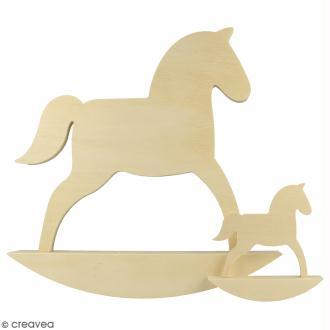 Petit cheval à bascule en bois à décorer - 10 cm - 2 pcs