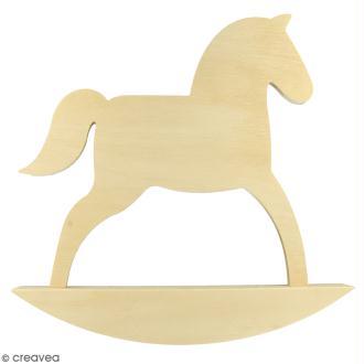 Grand cheval à bascule en bois à décorer - 24,5 x 25 cm