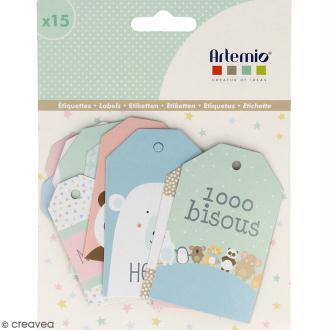 Die cut Artemio - Etiquettes Adorable - 15 pcs