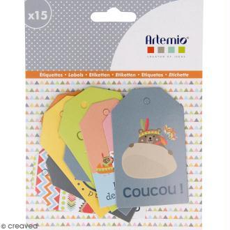 Die cut Artemio - Etiquettes Totem Indien - 15 pcs