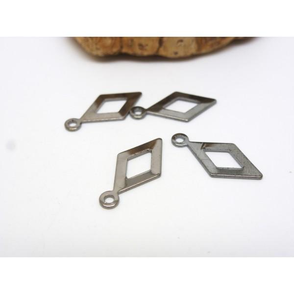 5 Breloques fines losange évidé - 15.5*7.5mm - gris anthracite - Photo n°1