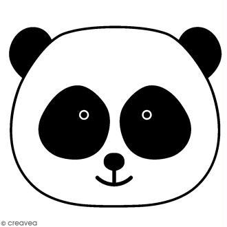 Tampon Bois Artemio - Tête Panda - 2,6 x 2,6 cm