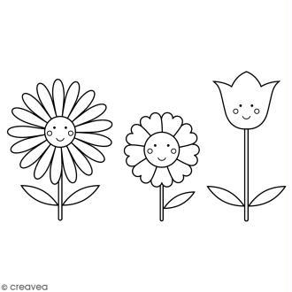 Tampon Bois Artemio - Flowers - 3,7 x 6,6 cm