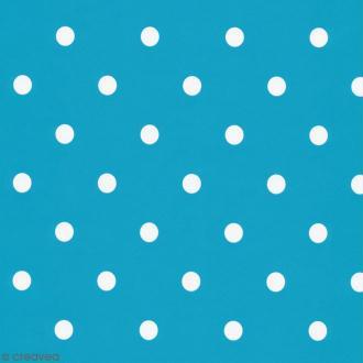 Adhésif décoratif imprimé - Bleu aqua à pois blancs - 45 cm x 2 m