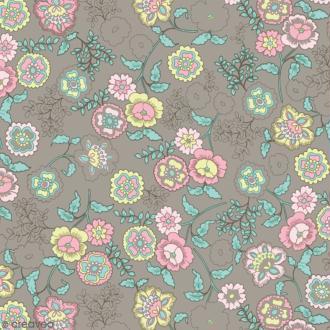 Adhésif décoratif imprimé - Taupe à fleurs - 45 cm x 2 m