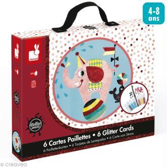 Coffret créatif cartes paillettes - Cirque - 6 cartes