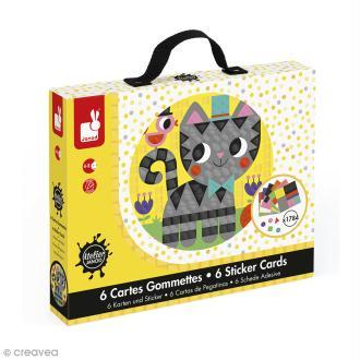 Coffret créatif cartes gommettes - Animaux - 6 cartes