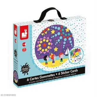 Coffret créatif cartes gommettes - Fêtes incontournables - 6 cartes