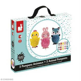Coffret créatif - Pompons - 5 animaux tous mignons