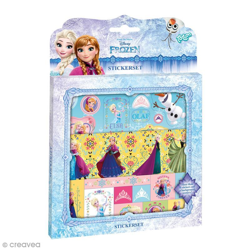 d coration de stickers la reine des neiges 3 feuilles embellissement stickers creavea. Black Bedroom Furniture Sets. Home Design Ideas