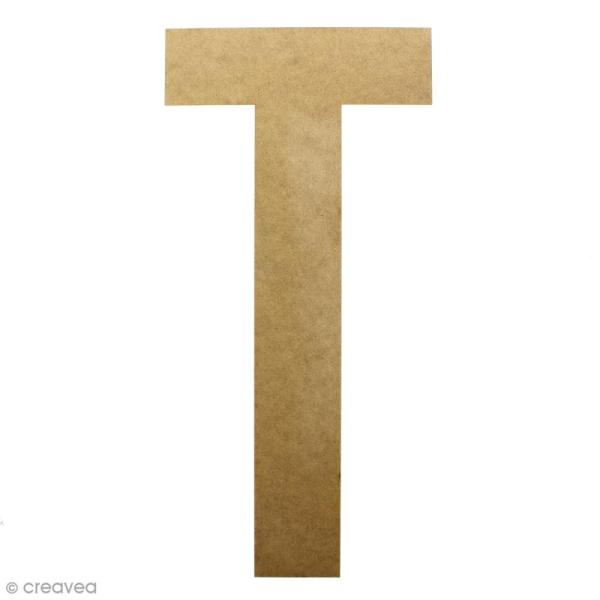 Lettre en bois géante 50 cm - T - Photo n°1
