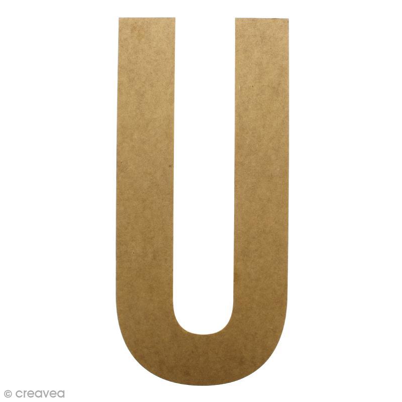 Lettre en bois géante 50 cm - U - Photo n°1