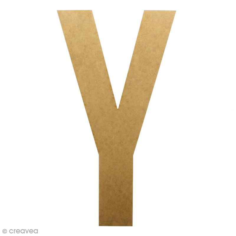 Lettre en bois géante 50 cm - Y - Photo n°1
