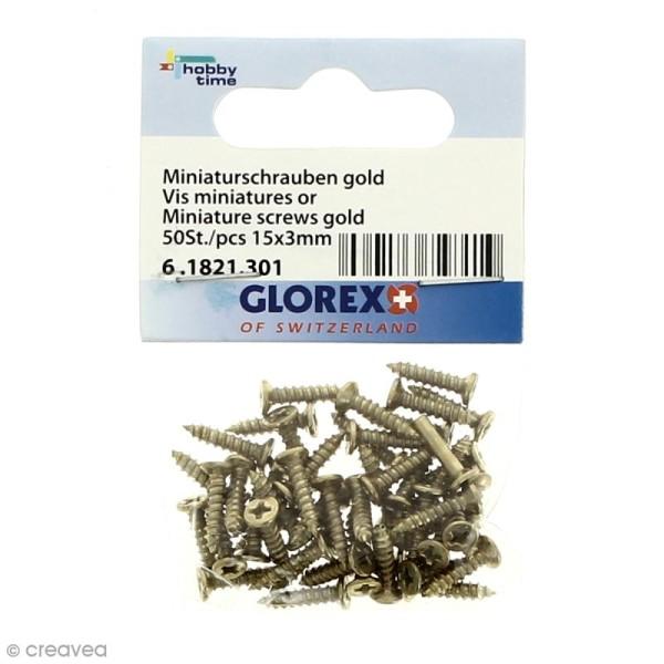 Vis miniatures - Doré - 15 x 3 mm - 50 pcs - Photo n°1