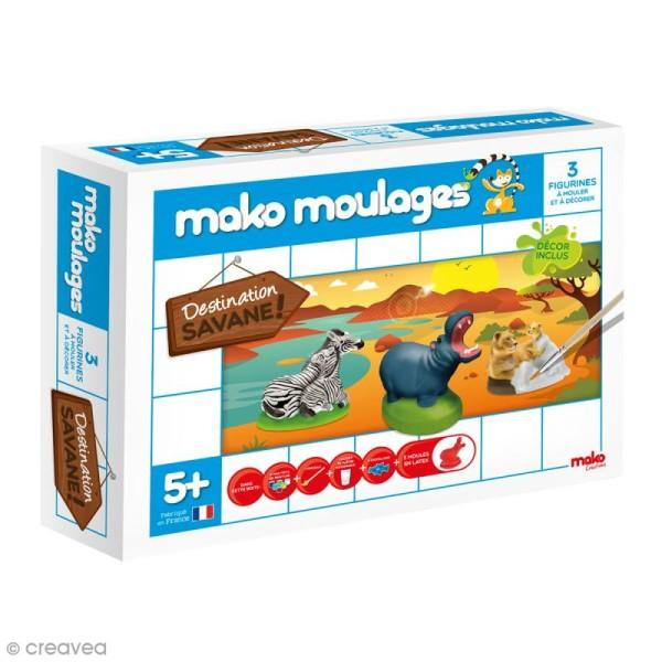 Coffret moulages en plâtre - Destination Savane - Mako moulages - 3 moules - Photo n°1