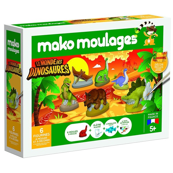 Coffret moulages en plâtre - Le monde des dinosaures - Mako moulages - 6 moules - Photo n°1