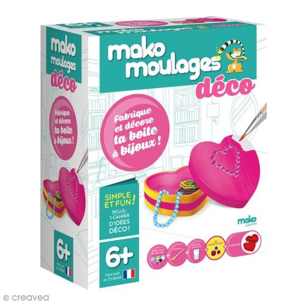 Coffret moulages en plâtre - Fabrique et décore ta boîte à bijoux - Mako déco - 2 moules - Photo n°1