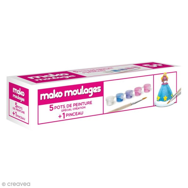 Recharge peinture Mako moulages - 5 pots + 1 pinceau - Photo n°1
