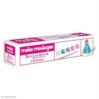 Recharge peinture Mako moulages - 5 pots + 1 pinceau