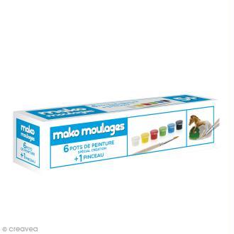 Recharge peinture Mako moulages - 6 pots + 1 pinceau