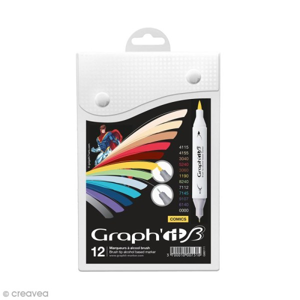Graph'it Brush & Extra Fine - Comics - 12 marqueurs - Photo n°1