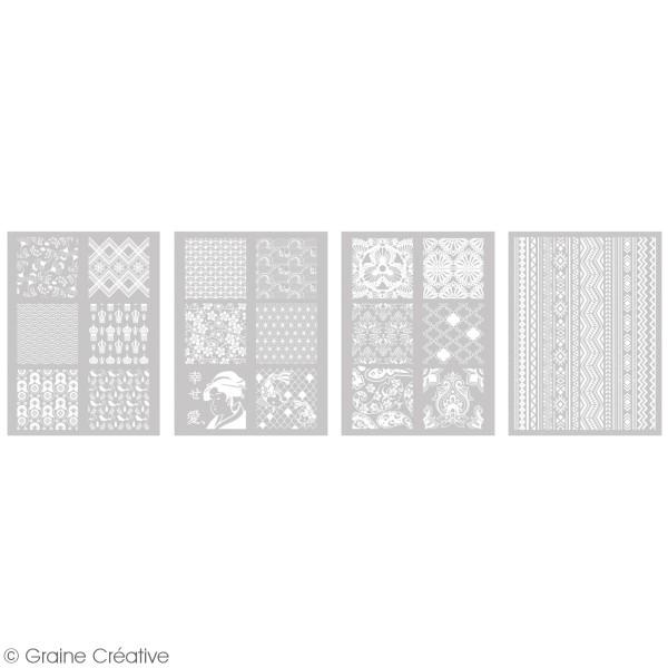 Pochoir pour impression de motifs sur pâte polymère - Monde - 12 x 21 cm - Photo n°2