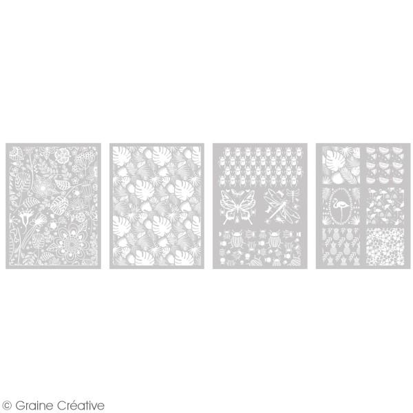 Pochoir pour impression de motifs sur pâte polymère - Végétal - 12 x 21 cm - Photo n°2