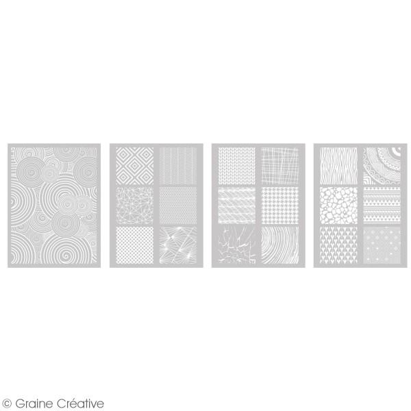 Pochoir pour impression de motifs sur pâte polymère - Motifs - 12 x 21 cm - Photo n°2