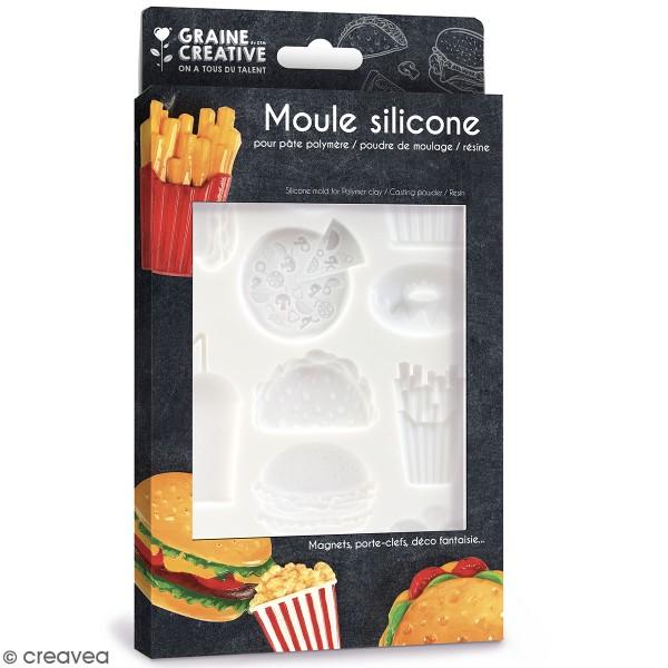 Moule en silicone Junk Food - 20 x 13 cm - 12 formes - Photo n°1