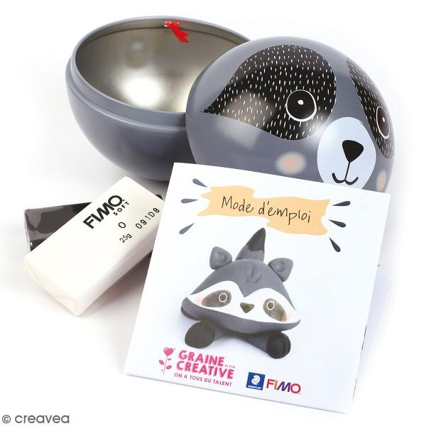 Kit Fimo Boule de Noël métallique - Raton laveur - 4 pcs - Photo n°1