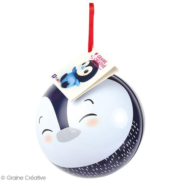 Kit Fimo Boule de Noël métallique - Pingouin - 4 pcs - Photo n°3
