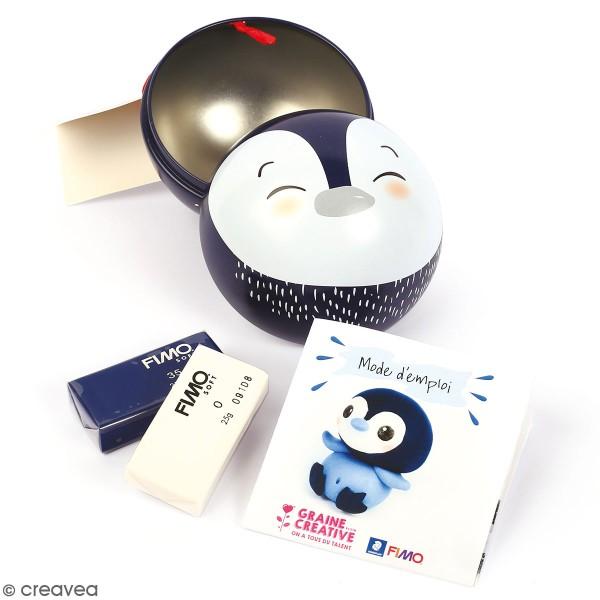 Kit Fimo Boule de Noël métallique - Pingouin - 4 pcs - Photo n°1
