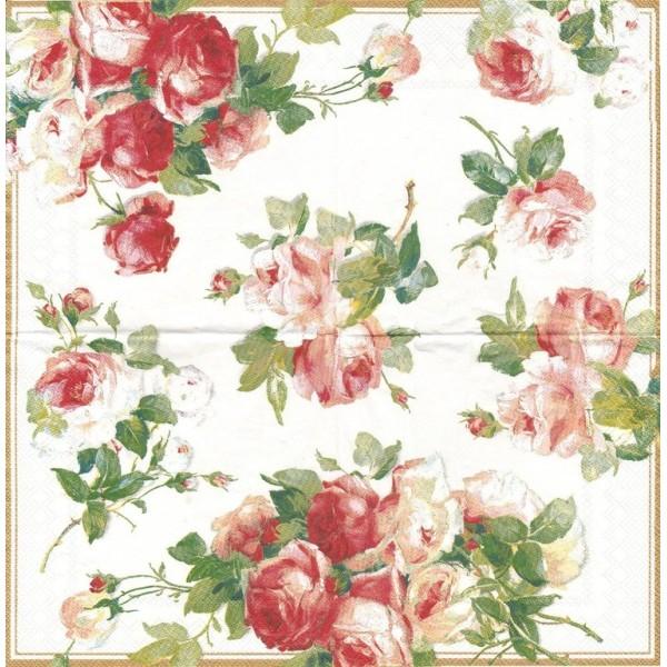 4 Serviettes en papier Roses Victoria Format Lunch Decoupage Decopatch L-401990 IHR - Photo n°1
