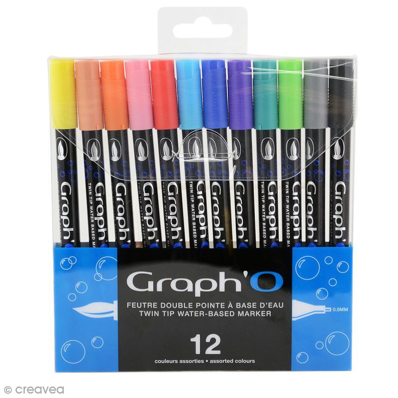 Graph'O - Feutre pinceau Double pointe - Couleurs Basiques - 12 feutres - Photo n°1