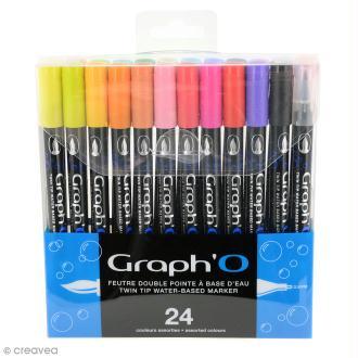 Graph'O - Feutre pinceau Double pointe - Couleurs Basiques - 24 feutres