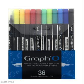 Graph'O - Feutre pinceau Double pointe - Couleurs Basiques - 36 feutres