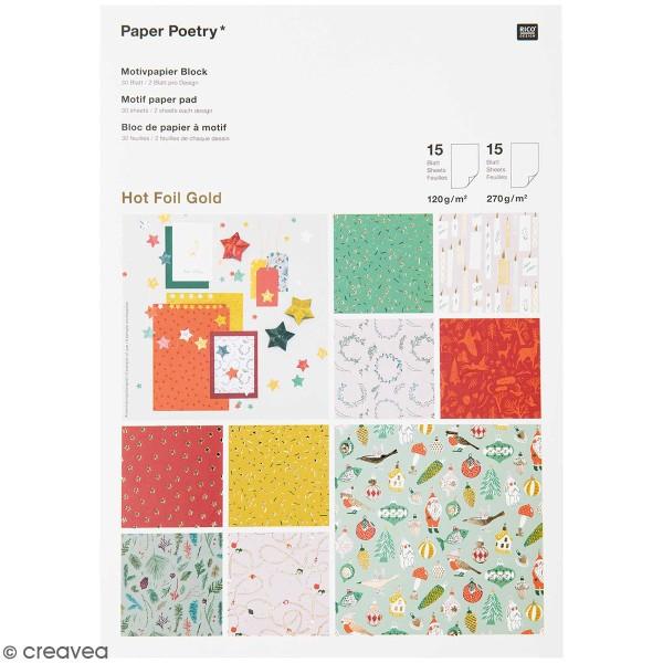 No/ël Classique Hot foilGold 30 feuilles Bloc papier scrap A4 /à motif