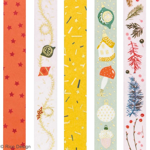 Assortiment de masking tape Nostalgic Christmas - Noël Classique - 1,5 cm x 10 m - 5 pcs - Photo n°4
