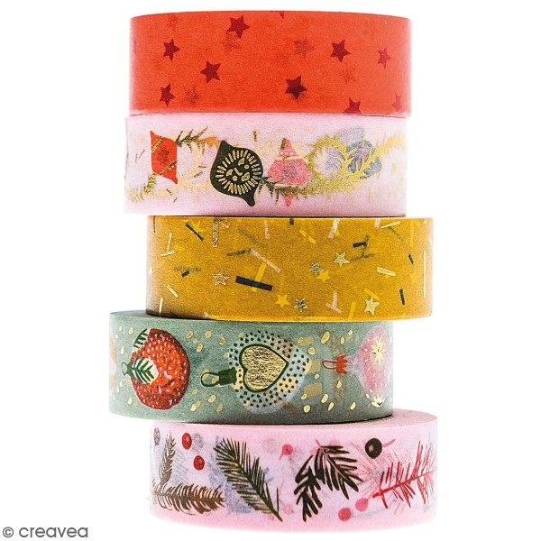 Assortiment de masking tape Nostalgic Christmas - Noël Classique - 1,5 cm x 10 m - 5 pcs - Photo n°1