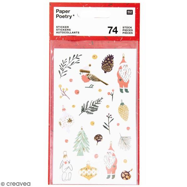 Stickers papier Nostalgic Christmas - Noël Classique -74 pcs - Photo n°1