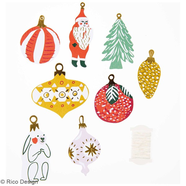 Pendentifs en papier Nostalgic Christmas - Noël classique - de 4 à 8 cm - 8 pcs - Photo n°2